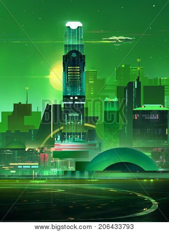 art fantastic city skyline. Cyberpunk with night lights.