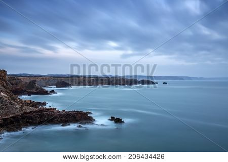 Dramatic landscape of the sea before the storm in Sagres Portugal