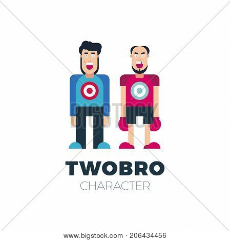 Vector Flat Simple Friendly Two People Character. Person Icon Isolated. Profession Man Or Human Icon