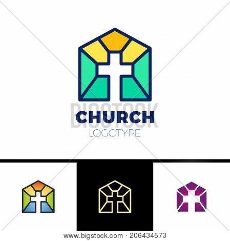 Home Church Logo. House Bible Logotype. Calvary Cross Silhouette Orange Gradient