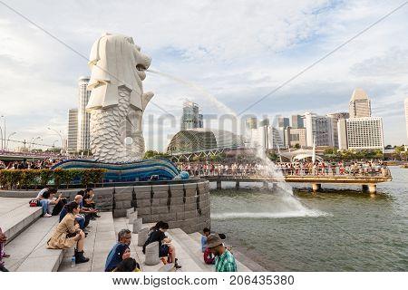 Iconic Singapore Merlion Park On Summer Day