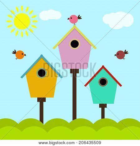 birdhouses with birds colorful style cartoon nesting box set of birdhouses