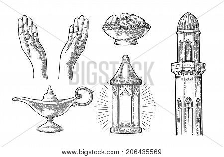 Two Praying Hands, minaret, arabic hanging lamp with chain, Aladdin magic lamp and dates fruit in the bowl. For poster Ramadan kareem. Vector black vintage engraving illustration isolated on white