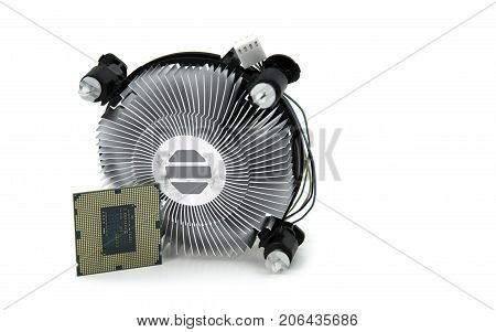 image of Central Processing Unit and CPU cooling fan isolated on white background.