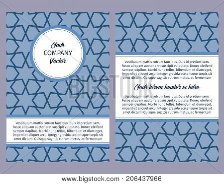 Brouchure design template for company with blue geometric pattern with linear elements, vector illustration