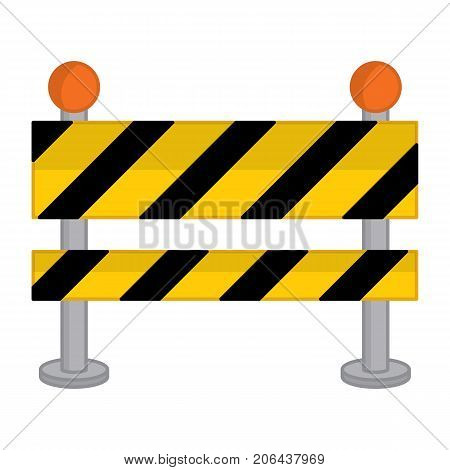 Vector yellow, black and striped road barrier. Vector road barricade. Road barrier vector illustration