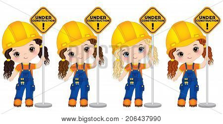Vector cute little girls holding the sign - under construction. Vector little girls with various hair colors. Vector construction. Little builders vector illustration