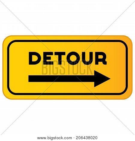Vector detour road sign. Detour sign vector illustration