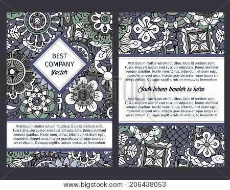 Brouchure design template for company with floral seamless decorative ornamental design pattern, vector illustration