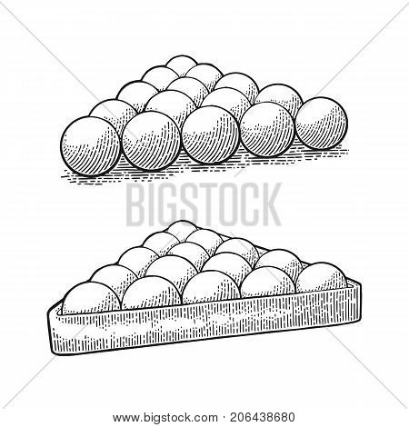 Billiard balls without number in triangle with shadow. Vintage black engraving illustration for poster web. Isolated on white background.