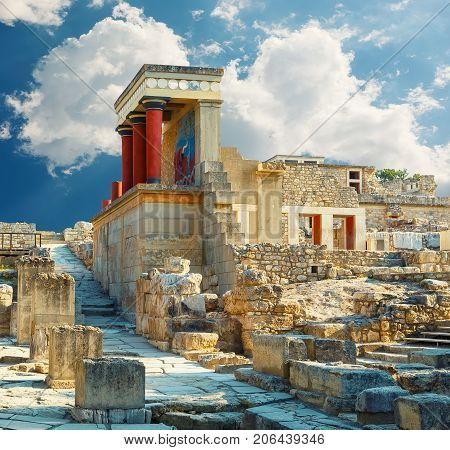 Knossos palace at Crete. Heraklion, Crete, Greece. Detail of ancient ruins of famous Minoan palace of Knossos.