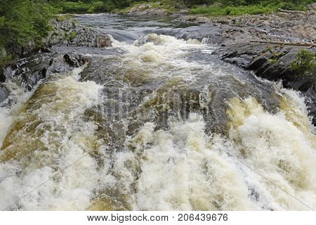 Plunging Waters in a Aux Sables River in Chutes Provincial Park in Ontario