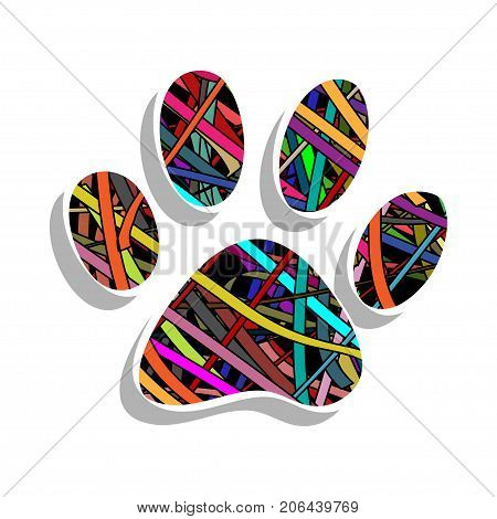 Illustration colorful paw print on a white background.