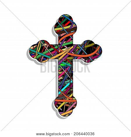 Illustration Orthodox colorful cross on a white background.