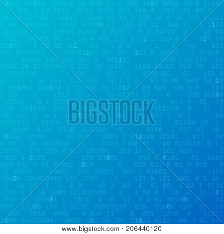 Binary code. Vector blue technology background with zero and one.