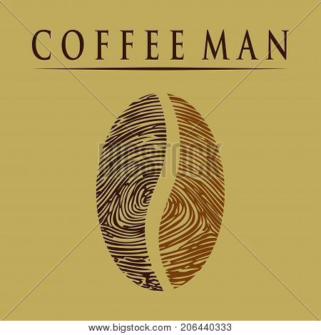 Illustration Coffee man as a fingerprint and background.