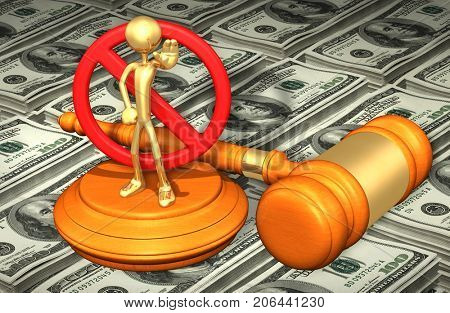 Prohibited Law Concept With The Original 3D Character Illustration