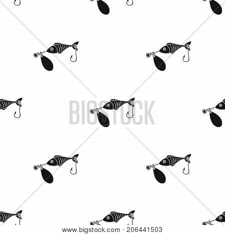 Fishing bait icon in black design isolated on white background. Fishing symbol stock vector illustration.