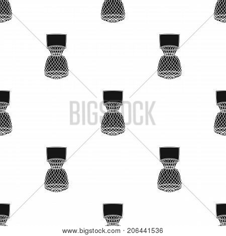 Fishing net icon in black design isolated on white background. Fishing symbol stock vector illustration.