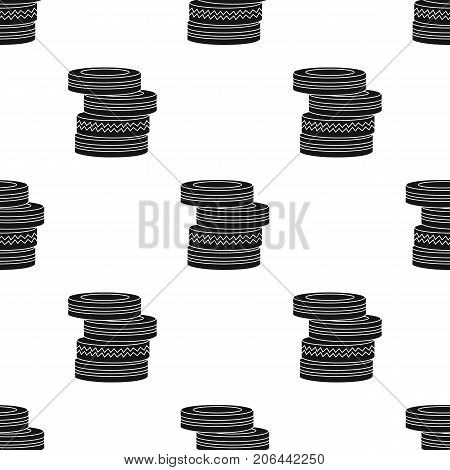 Barricade from tires icon in black design isolated on white background. Paintball symbol stock vector illustration.