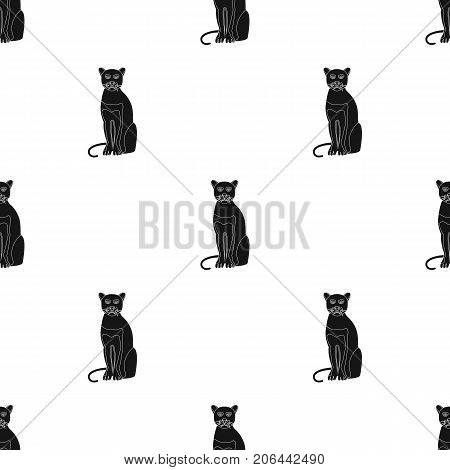 Panther, predatory animal. Pantera, wild cat single icon in black style vector symbol stock illustration .