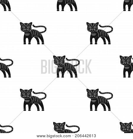 Tiger, single icon in black style.Tiger, vector symbol stock illustration .