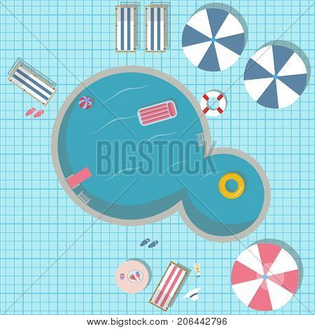 Swimming pool vector illustration with pool toys like rubber ring pool air mattress. Swimming Pool Top view with umbrellas table with food sunscreen hat loungers flip flops etc.