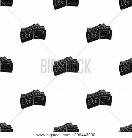 Wallet with cash icon in black design isolated on white background. Supermarket symbol stock vector illustration.