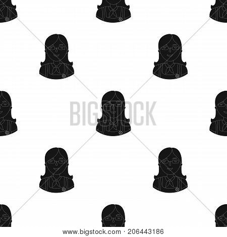 Cashier icon in black design isolated on white background. Supermarket symbol stock vector illustration.