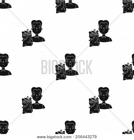Man carrying grocery paper bag full of food icon in black design isolated on white background. Supermarket symbol stock vector illustration.