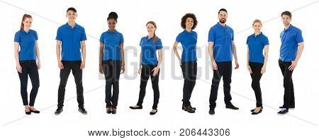 Group Of Happy Janitors Standing Over White Background