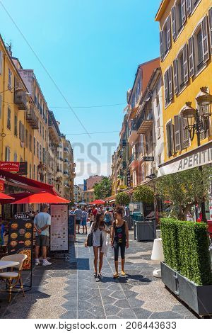 Shopping Street In Nice, South France