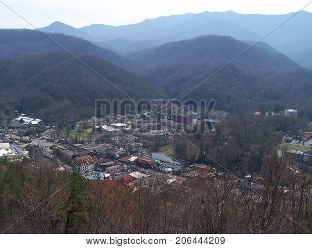 Amazing smoky landscape of Gatlinburg and Smoky Mountains