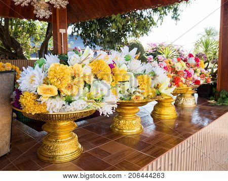 Artificial flower for respect Buddha in temple, Thailand