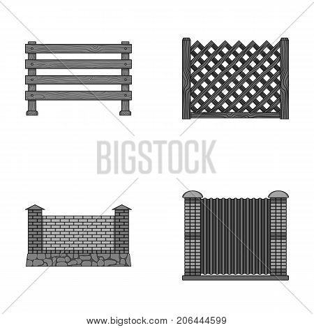 A fence of metal and bricks, wooden palisade. A different fence set collection icons in monochrome style vector symbol stock illustration .