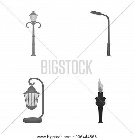 Lamppost in retro style, modern lantern, torch and other types of streetlights. Lamppost set collection icons in monochrome style vector symbol stock illustration .