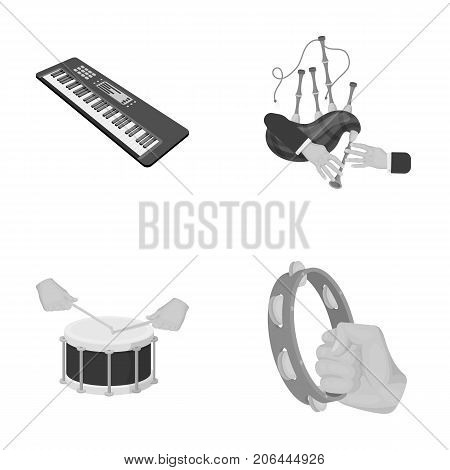 Synthesizer melodies, bagpipes Scotch and other  icon in monochrome style. drum, drum roll, tambourine in hand icons in set collection.