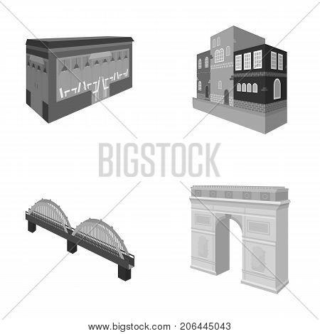Arc de Triomphe in Paris, Reinforced bridge, cafe building, House in Scandinavian style. Architectural building set collection icons in monochrome style vector symbol stock illustration .