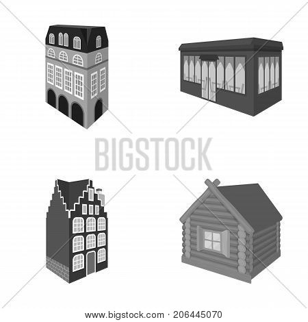 Residential house in English style, a cottage with stained-glass windows, a cafe building, a wooden hut. Architectural building set collection icons in monochrome style vector symbol stock illustration .