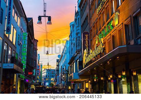 Shopping Street In The City Center Of Dortmund, Germany