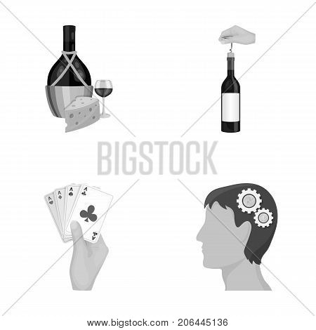 Bottle, a glass of wine and cheese, clogging with a corkscrew and other  icon in monochrome style. A combination of cards in hand, a person's head and an idea generator icons in set collection.