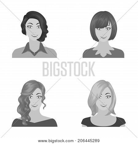 The appearance of a woman with a hairdo, the face of a girl. Face and appearance set collection icons in monochrome style vector symbol stock illustration .