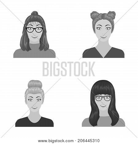 The face of a girl with glasses, a woman with a hairdo. Face and appearance set collection icons in monochrome style vector symbol stock illustration .
