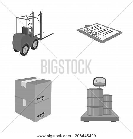 Forklift, delivery slips, packaged goods, cargo on weighing scales. Logistics and delivery set collection icons in monochrome style isometric vector symbol stock illustration .