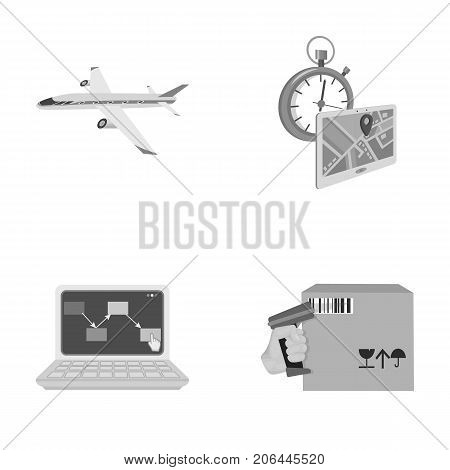 Transport aircraft, delivery on time, computer accounting, control and accounting of goods. Logistics and delivery set collection icons in monochrome style isometric vector symbol stock illustration .