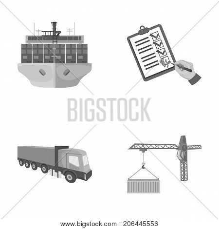 Sea freight, signature of delivery documents, truck, tower crane with a container. Logistics and delivery set collection icons in monochrome style isometric vector symbol stock illustration .