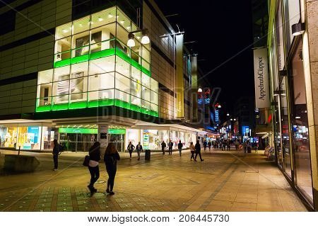 Shopping Street In The City Center Of Dortmund, Germany, At Night