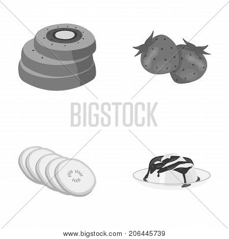 Fruits and other food. Food set collection icons in monochrome style vector symbol stock illustration .