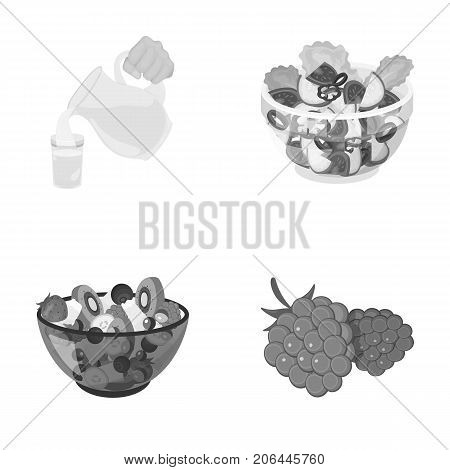 Fruit, vegetable salad and other types of food. Food set collection icons in monochrome style vector symbol stock illustration .