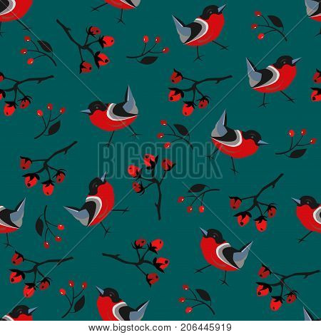 Bird Seamless Pattern. Bullfinch birds on a modern teal background with red berries of rowan and brier. Winter/Merry Christmas Collection.Vector Illustration.